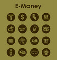 set of e-money simple icons vector image