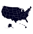 Set states in the map of America vector image vector image