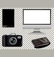 set technology gadget on transparent background vector image