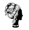 silhouette of female head vector image