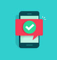 smartphone and checkmark flat vector image vector image