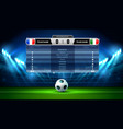 soccer football stadium spotlight and scoreboard vector image vector image