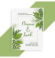 wedding invitation card design in floral green vector image vector image