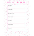 weekly planner in cute style with polka dot vector image vector image