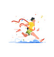 winning athlete crosses finish line vector image