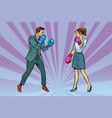 woman boxing fights with man vector image