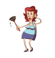 woman with plunger vector image vector image