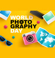 world photography day eventa banner logo vector image