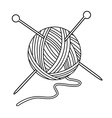 Yarn ball and needles vector image