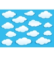 White fluffy cloud icons on blue sky vector image
