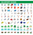 100 sport icons set cartoon style