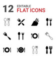 12 cutlery icons vector image vector image