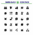 25 solid glyph viral virus corona icon pack vector image vector image
