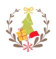 beautiful christmas badge on white background vector image