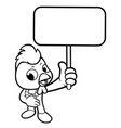 black and white funny chicken mascot holding a vector image vector image