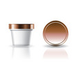 blank white cosmetic or food round cup with lid vector image
