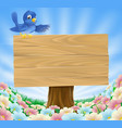 blue bird wooden nature sign vector image