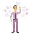 business man character pointing at light bulb vector image vector image