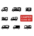 camper icon set vector image
