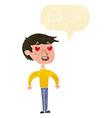 cartoon man in love with speech bubble vector image