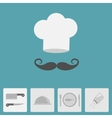 Chef hat with moustache Icon set Silver platter vector image vector image