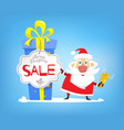 christmas sales discounts santa claus and big vector image