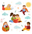 colorful set cute children read books vector image