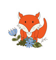 cute animal in cartoon style woodland fox with vector image