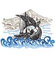 drekar boat - an hand drawn vector image vector image