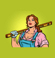 female construction worker with level vector image vector image