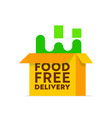 food delivery logo with open carton box isolated vector image