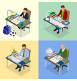 four isometric pictures on the subject of training vector image vector image
