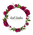 frame with bright red peonies and words best vector image vector image