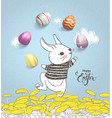 funny hand drawn baby rabbit wearing striped t vector image