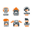 gamers badges joystick video gaming old school vector image