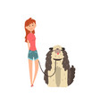 girl walking her shaggy dog on vector image vector image