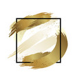 gold brush stroke color with line frame vector image vector image