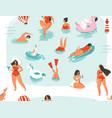 hand drawn abstract cartoon summer time fun vector image vector image