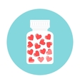 Heart Pills in White Container Love Therapy vector image vector image