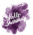 hello summer lilac colored hand lettering vector image vector image
