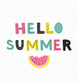 hello summer poster hand draw style vector image