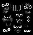 hello with cartoon owl eyes vector image