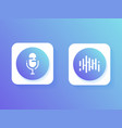 icon microphone button and sound of waves vector image vector image