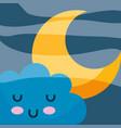 kawaii cloud cartoon sleeping and star vector image