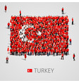 large group of people in the shape of turkish flag vector image vector image