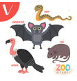Letter V Cute animals Funny cartoon animals in vector image vector image