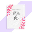 lovely pink leaves wedding invitation card design vector image