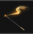 magic wand with magical gold sparkle trail vector image vector image