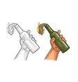 male hand holding molotov cocktail engraving vector image