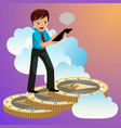 man rising up to clouds on ethereum coins vector image vector image